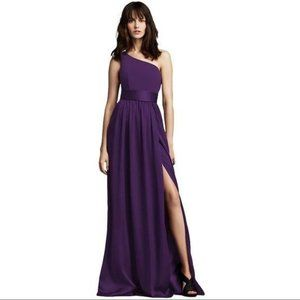 One Shoulder Dress with Satin Sash in Plum